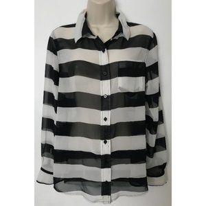 ❤️BANANA REPUBLIC Black/White Striped Sheer Blouse